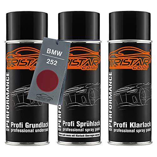 TRISTARcolor Autolack Spraydosen Set für BMW 252 Calypsorot Metallic Grundlack Basislack Klarlack Sprühdose 400ml