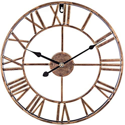 XQMY Reloj de Pared Grande, 40 cm / 16 Pulgadas, números Romanos Grandes de Metal, Relojes de Pared Personalizados Que no Hacen tictac para Sala de Estar, Cocina, dormitorios, Oficina, Bar - (SIL