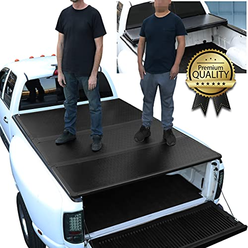 DNA Motoring TTC-HARD-014 Truck Bed Top Hard Solid Tri-Fold Tonneau Cover...