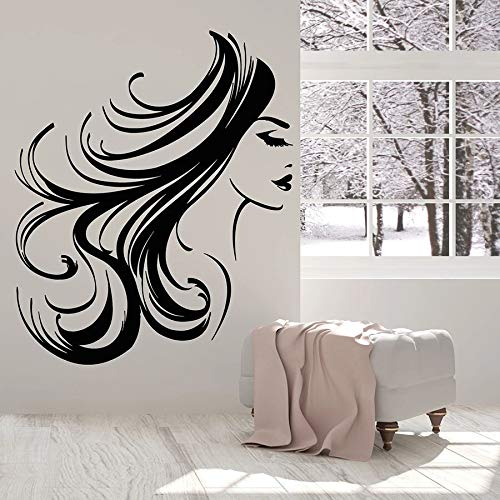 Girl face Wall Decals Woman Long Hair Hairstyle Makeup Room Beauty Salon Interior Decoration Vinyl Window Stickers Bedroom Mural