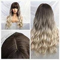 ピンクのかつらを演奏前髪の役割を持つ長い髪コスプレウィッグかつらウィッグ人工毛、長い波状のかつらの高温繊維の合成,Lc20228