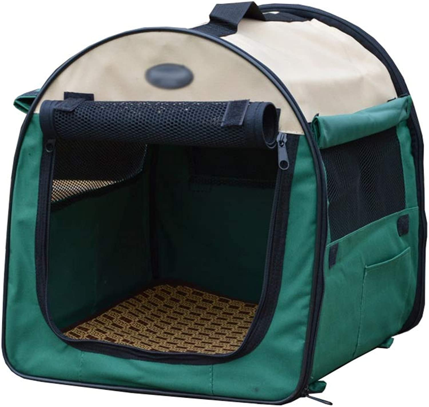 Pet fence Pet room Pet tent Foldable Portable type big space Semiclosed Breathable bamboo seat pad outdoor Travel Washable Car (color   D, Size   61  46  51cm)