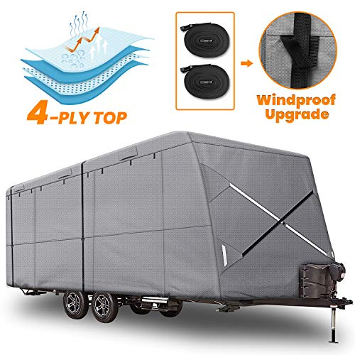 XGear Outdoors 27' - 30' Travel Trailer RV Cover Windproof Upgraded fits RV Trailer Camper, Extra-Thick 4 Layers Anti-UV Top Panel, Rip-Stop with 2PCS Extra Straps