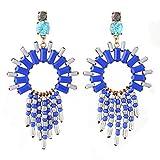 Perlas de arroz europeas y americanas Pendientes con borlas Pendientes de diamantes Pendientes largos Pendientes azules