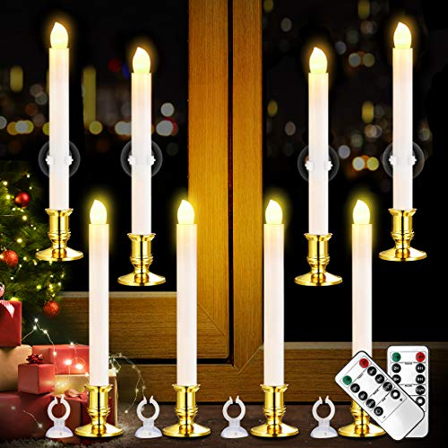 YAUNGEL Window Candles, 8 Pack LED Battery Operated Christmas Candles for Windows with Remote Timer Electric Candle Lights with Removable Candle Holders Suction Cups for Christmas Decorations