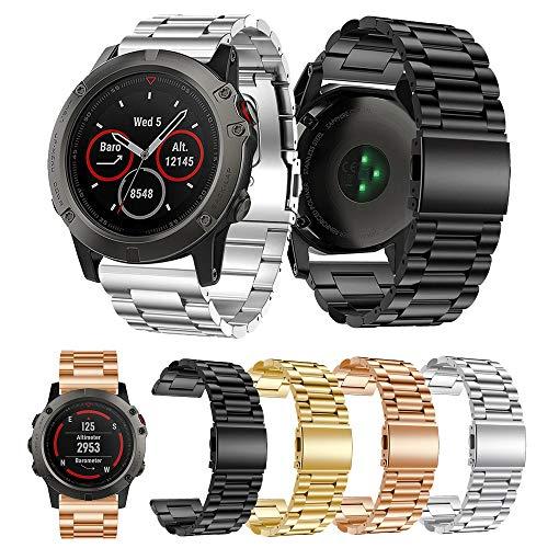 Angersi 26 mm sin liberación rápida de acero inoxidable sólido pulseras de metal conjunto de pulseras de repuesto compatible con Garmin Fenix 6x/Fenix 6x Pro/Fenix 5x/Fenix 5x Plus Smartwatch