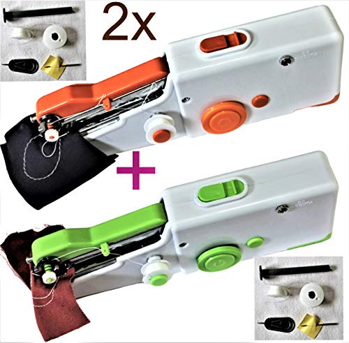2 x Máquina de coser de viaje eléctrica mini máquina de coser de mano easystitch portátil sewing Machine perfecta para pro, principiantes adolescentes y niños, DIY Crafts, como idea de regalo