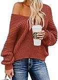 ASTYLISH Damen Pullover, Damen Oberteile Sweater Strickpullover mit Fledermausärmel locker übergroße Pullover eignet Sich für Herbst, Winter und Frühling, A-rot, M-EU(38-40)