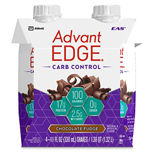 EAS AdvantEDGE Carb Control Ready-to-Drink Protein Shake, 17 grams of Protein, Chocolate Fudge, 4 Count (Packaging May Vary)