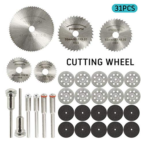 31pcs Ruedas de corte de diamante HSS Circular Saw Blade Rotary Tool para trabajar la madera para Dremel Mini Drill Rotary Tool Accessories, 31pcs, España