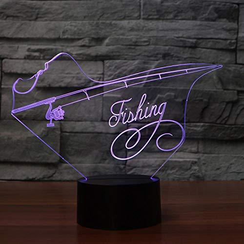 KangYD Fishing Fishing Rod 3D Night Light, LED Optical Illusion Lamp, B - Remote Black Base(16 Color), Kid Gift, Colorful Gradient, LED Lighting, Child Lamp, Office Decor Lamp
