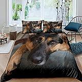 Juego de cama de perro pastor alemán 3D, 135 x 200 cm, diseño de perro pastor alemán