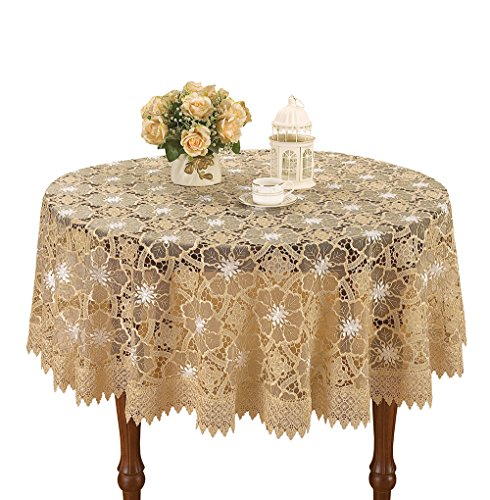 Simhomsen Beige Lace Tablecloth For Small Coffee Table 36 Inch Round