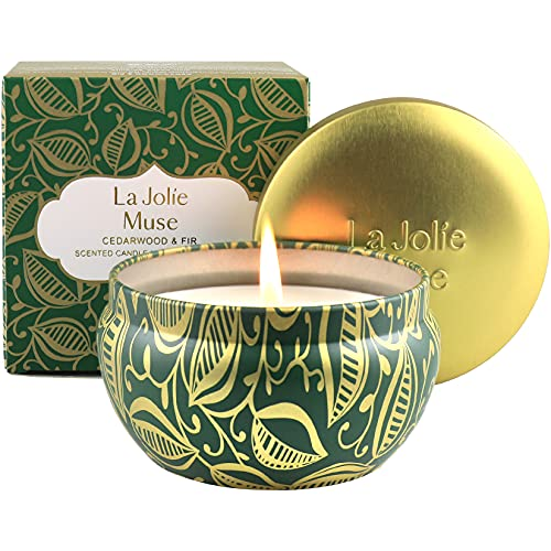 LA JOLIE MUSE Cedarwood & Fir Scented Candle, 100% Natural Soy Candle for Home, 45 Hours Long Burning Christmas Candle, Tin, 6.5 oz
