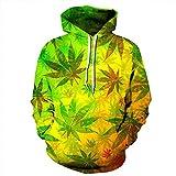 Fansu Unisex Sudaderas con Capucha 3D Creativa Hoja de Marihuana Populares Impreso Hoodies con Bolsillos,Hombre Mujer Manga Larga Pullover Deportes Sweatshirt (S/M,Amarillo)