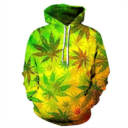 Fansu Herren Damen Kapuzenpullover 3D Hoodie,Kreative Mode Marihuana-Blatt Druck Unisex Freizeit Sweatshirt Pullover Langarm Paare Hoodies mit Tasche (XXL/XXXL,Gelb)