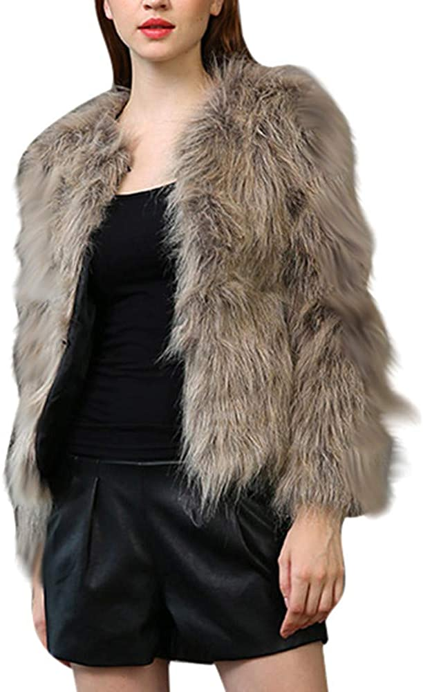 Kangma Women Winter Warm Thick Coat Pure Color Jacket Faux Fur Parka Outwear Cardigan Coffee