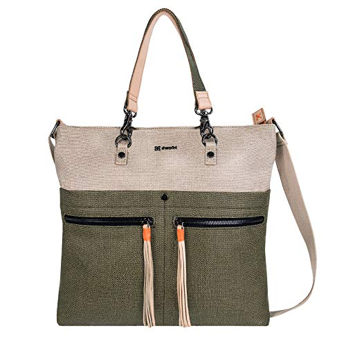 Sherpani Faith, Crossbody Bag, Shoulder Bag for Women, with 7 Inch Tablet Compatibility, made from Hand-Painted Canvas (Natural/Moss)