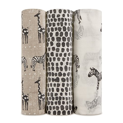 aden + anais Silky Soft Swaddle Blanket,100% Bamboo Viscose Muslin Blankets for Girls & Boys, Baby Receiving Swaddles, Ideal Newborn & Infant Swaddling Set, 3 Pack, Sahara, Zebras