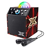 The X Factor TY6085A Kids Karaoke Machine and Disco Cube Speaker, Portable with Bluetooth, 2 Microphones, LED Lights and Echo, Black