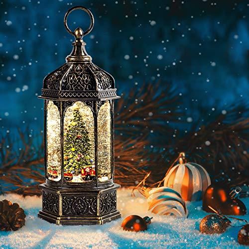 SUNFACE 11' Rotating Scene Christmas Snow Globe Musical Water Lantern Light (Christmas Trees)