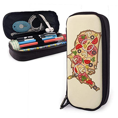 Bolso de la caja de lápices de cuero de doble cremallera Pu Papelería de alta capacidad Bolso de la bolsa de la pluma Bandera americana Dibujos animados Pizza Champiñones Tomate Mapa