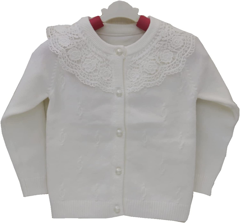 通用 女童开襟毛衣 棉质毛衣 女孩开衫 (白色, 9)