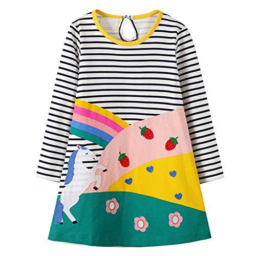 YFPICO Vestido T-Shirt Princesa de otoño e Invierno Falda de niñas Manga Larga Causal 2-8 Años, Caballo...
