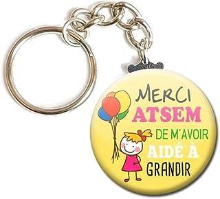 Porte Clés Chaînette 3,8 centimètres Merci Atsem de m'avoir aidé à grandir Idée Cadeau Accessoire École Année Scolaire Enf...