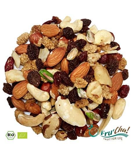 Fru'Cha! - BIO Nuss & Frucht-Mix / Studentenfutter mit Pistazienkernen 1000g - Plastikfrei verpackt -100% kompostierbar