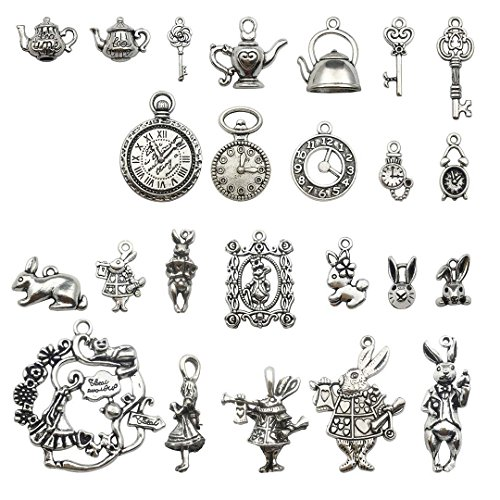40 PCS Alice in Wonderland Fairy Charms Collection - Antique Alice Rabbit Steampunk Skeleton Keys Pendants Jewelry Findings (Silver HK6)