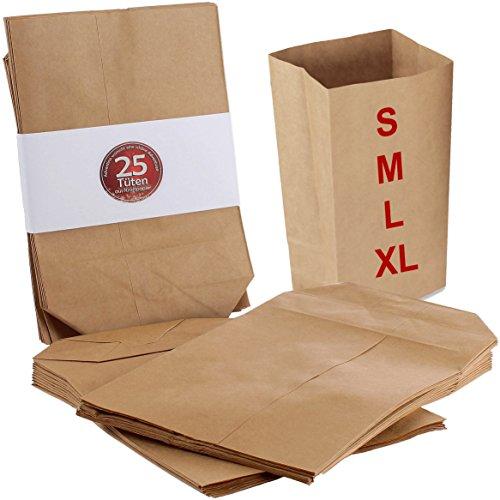 25 Adventskalender Tüten aus Kraftpapier für Adventskalender zum befüllen, Größe L (14 x 21 cm), Geschenktüten zum befüllen, Papiertüten zum Adventskalender basteln, mit Boden, ungefädelt, Set