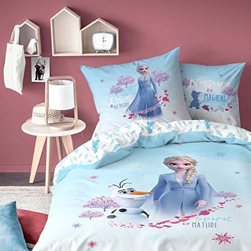 CTI ELSA Mädchen-Bettwäsche · Kinderbettwäsche · Disney Frozen ELSA & Olaf · Disney Frozen 2 Eiskönigin - Kissenbezug 80x80 + Bettbezug 135x200 cm - 100% Baumwolle
