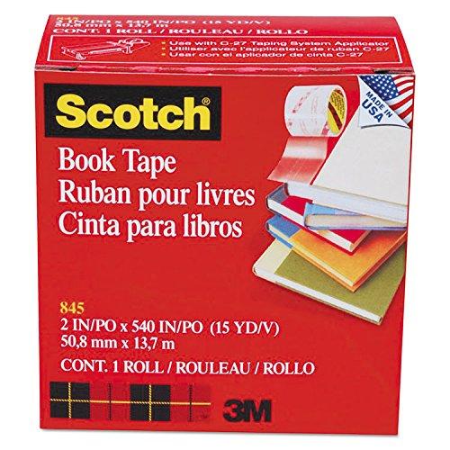 Scotch 8452 Book Tape, 3-Inch Core Size, 2-Inch x 15 Yards, Clear
