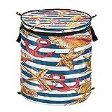 Hunihuni - Cesta de lavandería con diseño de estrella de mar, plegable, para ropa sucia, cesta de almacenamiento con tapa con cremallera para baño, dormitorio, lavandería