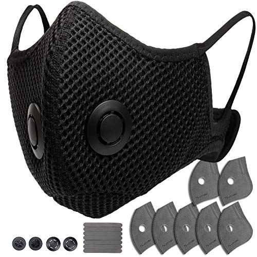 AstroAI Face Dust Mask, Reusable Black Mask with 7 Replaceable Filters and 4 Valves, Washable and Breathable Mask for Men Women (Black)
