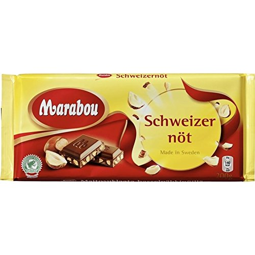 Marabou Cioccolato Al Latte Con Nocciole 200g - Schweitzernot (Confezione da 6)