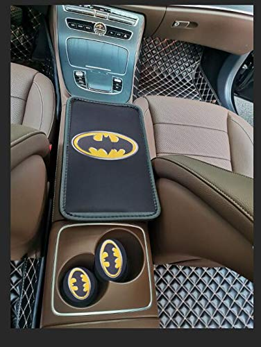 STORE-OK Car Center Console Pad and 2pcs Car Cup Holder Coaster Kit, Universal fit Comfortable Center Console car armrest pad, Stylish Pattern Design car armrest Cover (Bat)