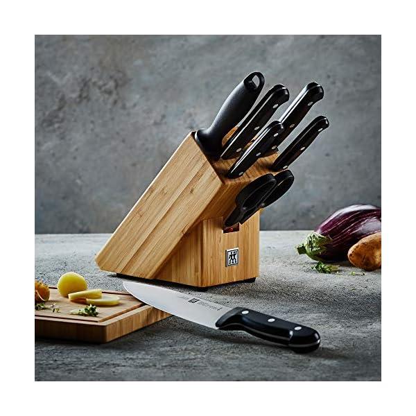 ZWILLING Bloque de cuchillos, 8 piezas, Bloque de bambú, Cuchillo y tijeras de acero inoxidable especial / mango de…
