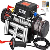 VEVOR Electric Winch 13000lb Load Capacity Truck Winch Compatible with Jeep Truck SUV 85ft/26m Cable Steel 12V Power Winch with Wireless Remote Control, Powerful Motor for ATV UTV Off Road Trailer