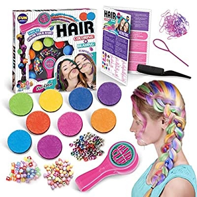 Temporary Kids Hair Colors And Braids Combo Set of 9 Colors with Hair Clip 3 Style Beads Comb Hair Threader for Braids Tools Kit Great Gift for Girls Ages 8 and Up Washable Hair Dye Colors For Cosplay Party Present For Kids