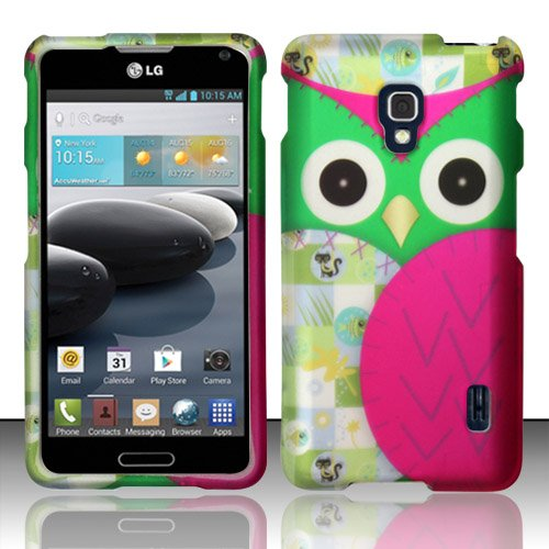 For LG Optimus F6 D500 / MS500 (T-Mobile/MetroPCS) Rubberized Design Cover - Owl Design