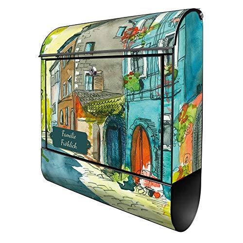 Banjado Design Briefkasten personalisiert mit Motiv Historischer Stadtkern | Stahl pulverbeschichtet mit Zeitungsrolle | Größe 39x47x14cm, 2 Schlüssel, A4 Einwurf, inkl. Montagematerial