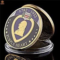 1782-1932USAパープルハートメダルミリタリーフィットゴールドメッキチャレンジ記念コイン