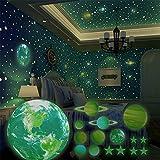 SnailGarden 470 Piezas Pegatina Pared Fluorescente,Luminoso Sistema Solar y Estrellas Luminosas...
