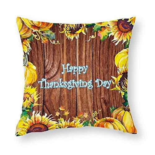 Lsjuee Baumwollkissenbezug Dank Giving Neuheit Kissenbezug Dekorative Square Throw Kissenbezüge für Schlafzimmer Sofa Home Car 18x18Inch Cotton Pillow Cover Thanks Giving Novelty Pillow Case Decorat