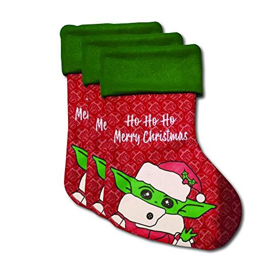 MYPRINTON Baby Yoda 3 Christmas Stockings 16' Xmas Stockings Merry Christmas Too Cute Celebrate with The Child