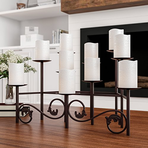 """Lavish Home (Brown 10 Candelabra with Front Scroll-Handcrafted Iron Candle Holder/Centerpiece for Fireplace, Home Décor, Wedding, Event, 23.9"""" x 14"""" x 13.8"""