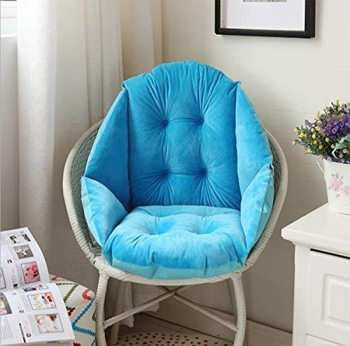 H.B.YE 40cm Coussin de Chaise Coquille Velours Douillet élastique Imperméable Fauteuil Chaise Paille Jardin Bleu