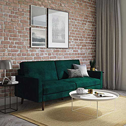 Novogratz The Audrey Futon with Independently Encased Coils and Soft Velvet for Top Comfort, Green Velvet